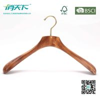 Betterall High-end Burlywood Wooden Coat Hanger with Golden Hook