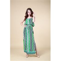 B1328 100% Viscose Fashion Womens Casual /Glamour Beach Printed Dresses