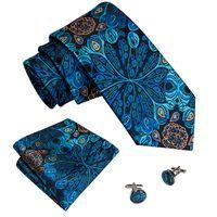 Men Ties Designers Fashion Jacquard Woven Wedding Party Business 3.4'' Blue Color 100% Silk Necktie