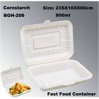 Eco-friendly Cornstarch Biodegradable Disposable Fast Food Take out Box