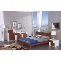 walnut veneer and white high gloss lacquer bedroom furniture bed , night stand , double dresser , thumbnail image