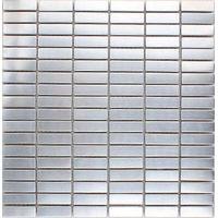 ME007S-2 silver strip stainless steel brushed metal mosaic thumbnail image