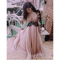 V-Neck Evening Dress,Long Prom Dress, Appliques Satin Prom Dress,Long-Sleeve Prom Dress