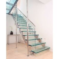 Stainless steel double straight stringer glass staircase