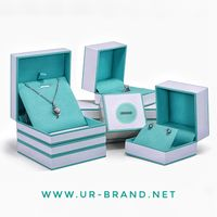 Cardboard pendant packaging box rigid paper earrings gift box with silk printing logo