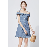A skinny denim dress with a plunging neckline