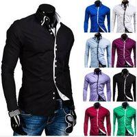 male double collar casual side buckle long-sleeve shirt fashion slim shirt men thumbnail image