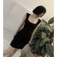 Summer 2018 French Elegant Clavicle Slimming Dress Little Black Skirt