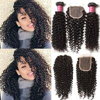 Brazilian Virgin Curly Hair 3 Bundles with Lace Closure 4X4 Free Part 7A Grade 100% Unprocessed Huma