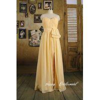 Daffodil Yellow Sweetheart Long Bridesmaid Dress Evening Dress thumbnail image
