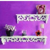 Home storage racks wood wall decoration shelf wash white 2 layers