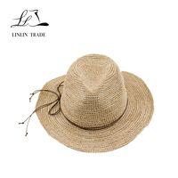 Fashionable Panama style floppy raffia summer hats for women straw hat