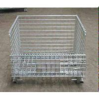 folding wire mesh roll cage container for warehouse storage thumbnail image