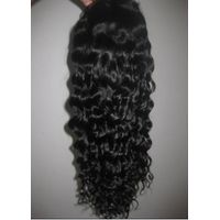 "Full lace wig, Indian human hair 16"" color #1B Deep Wave"