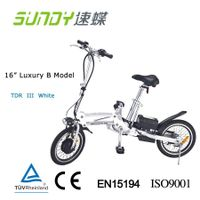 "16"" Shimano Gear Folding Electric Bicycle-White"