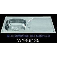 WY-86435 single bowl with drainboard kitchen sink