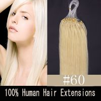 "100S 24"" BLEACH BLONDE(#60) 0.7G/1.4G MICRO LOOP REMY HUMAN HAIR EXTENSIONS"