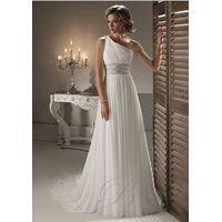 2012 strapless elegant  beading floor-length chiffon  one shoulder bride wedding dress thumbnail image