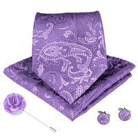 Wedding Classic Fashion Pocket Square Tie Woven Men Tie Purple Paisley Necktie Handkerchief Cufflink thumbnail image