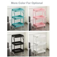 Popular design more colors foldable 3 tiers kitchen organizer shelf with wheels
