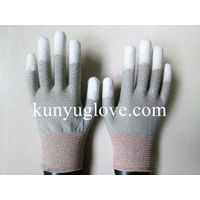 ESD conductive Copper Conductive Gloves, fingertip PU Coated Gloves
