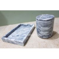 GRAY WHITE STONE CANDLE JARS AND TRAY