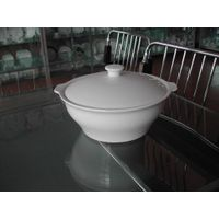 round porcelain tureen with two ears
