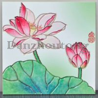 blooming lotus of ceramic painting tiles for wall decoration