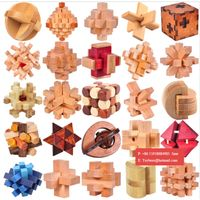 IQ 3D Wooden Brain Teaser Burr Interlocking Puzzle Game Toy for Adults Kid thumbnail image