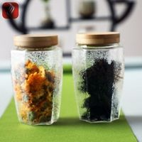 Glass storage container jar with metal clip top airtight cap