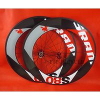 700c Toray carbon 88mm tubular wheel with road Red J bend hub 11s blade spokes Red nipples free ship
