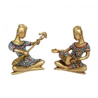 Sitting Musician Set of 2 for Wall Decoration and Gift Made By Brass metal