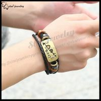 Skull metal buckle belt Leather bracelet SJ-B023