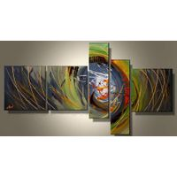 100% hand-painted Abstract oil painting on canvas green yellow abstract painting   home deco wall ar