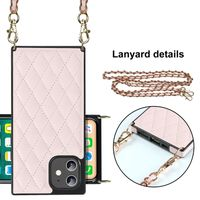 Crossbody PU Leather Wallet Handbag Mobile Phone Case for iPhone 12 Pro with Necklace Shoulder Strap thumbnail image
