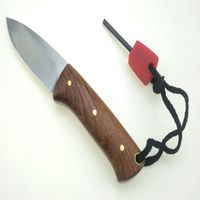 fixed blade knife Camping with wood handle satin