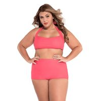 Joy-wear sexy Halter Bandeau High Waist Plus Size Swimwear