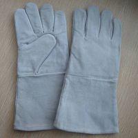 "Men's 14"" Grey cow split leather welding gloves,safety working gloves,heat resistant gloves"
