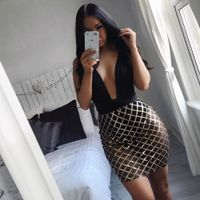 2018 women Sexy Club Dress Deep V Neck Backless Sheath Night Dress Spaghetti Strap Lace Patchwork Pe