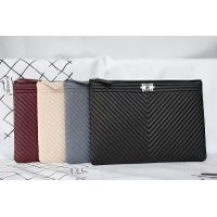Chane Boy Clutch Bag A69253 in Black Original V Lambskin Leather with Silver Hardware thumbnail image