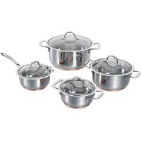 8 pcs wide edge stainless steel pot,copper bottom