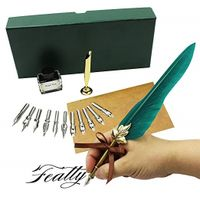 Antique Feather Dip Pen Set Writing Quill Ink Dip Pen set Best Christmas Gifts thumbnail image