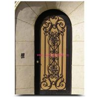 Wrought iron single entry door design