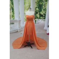Real Picture Sash Beading A Line Strapless Hi-lo Orange Chiffon Bridesmaid Dress thumbnail image