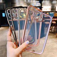 Girls Women transparent glitter bling diamonds camera phone case for iPhone 12 Mini