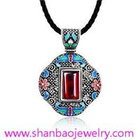Shanbao Jewelry Imitation Jewelry Silver Plated Costume Fashion Gemstone China Style Necklaces