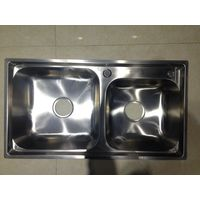 multi funtional cost effective double inequal bowl stainless steel kitchen sink 7742