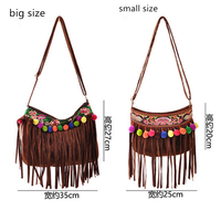 brown suede embroidery pompon messenger bag woman shoulder bag with sling