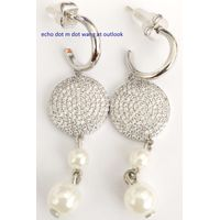 Brass earrings with glass pearls thumbnail image