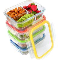 3 compartment high borosilicate glass food container thumbnail image